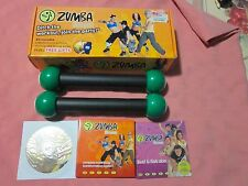 ZUMBA FITNESS KIT W/ 5 DVD'S,COMPLETE BODY TRANSFORMATION S&MARACA TONING STICKS