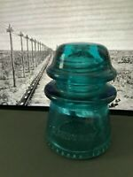 Vintage Blue & Green Old HEMINGRAY-16 Glass Telegraph Line Insulators-Rare