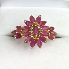 14k Solid Yellow Gold Cute Cluster Ring Natural Ruby. Sz 8, 2.68 Grams