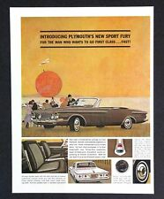 1962 Plymouth Sport FURY Advertisement AD Convertible Man Goes First Class Fast