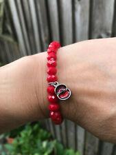Red poppy elasticated glass beaded bracelet