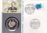 Numisbrief Deutschland Vereinte Nationen UN 80 Pfg Briefmarke Stempel Bonn 1993