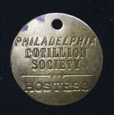 35mm Philadelphia Cotillion Society Hostess Keychain Fob Vintage brass tag