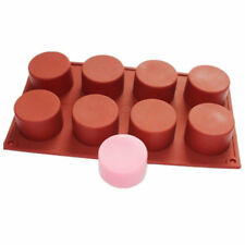 8 Cavity Round Cylinder Column Silicone Handmade Soap Mold Muffin Random Color