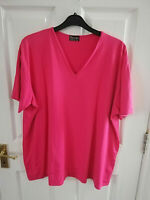 GREAT FEELING WOMENS PINK V NECK SHORT SLEEVE BLOUSE TOP PLUS SIZE 22 STRETCH