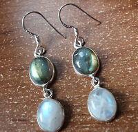 Moonstone and Labradorite 925 Sterling Silver Dangle Earrings Corona Sun g22b