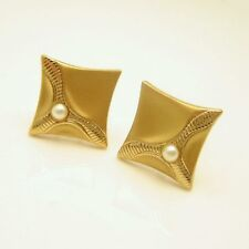 Vintage Mens Dress Cuff Links Mid Century Faux Pearls Brushed Gold Plated