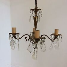 Antique Style Brass and Crystal Chandelier