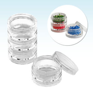 5ml 5g 10ml 10g Empty Stacking Storage Jar Pot Sample Makeup Craft Beads Glitter