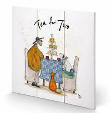 Sam Toft Tea for Two Wooden Art Print Mounted Wooden Frame Picture Cat Dog Gift