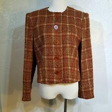 Jaeger Vintage Tweed Short Jacket Blazer Size 12 Wool Blend Rust Brown