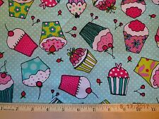 36 inch fabric colorful cupcakes on green dots