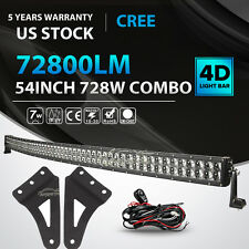 """54inch 728W Curved LED Light Bar + Mount Bracket Fit for GMC/Chevy Silverado 52"""""""