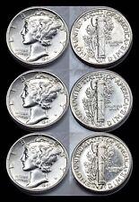 1941-P 1941-D 1941-S Mercury Dime Set - Brilliant Uncirculated - 90% Silver