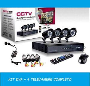 KIT VIDEOSORVEGLIANZA 4 CANALI TELECAMERA INFRAROSSI+DVR+ALIMENTATORE