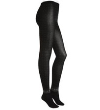 NEW HUE Sweater Tights' Winter Border' Tights (Size S/M) Black