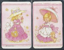 #915.273 Blank Back Swap Cards -MINT pair- Girls in pink with hat & parasol
