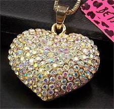 Stunning Betsey Johnson Swarovski Crystal Gold Puffed Heart Pendant Necklace NWT