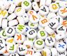 """500 Weiß Rund Buchstaben """"A-Z"""" Acryl Spacer Perlen Beads 7mm"""