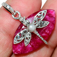 Dragonfly - Ruby & Pearl 925 Sterling Silver Pendant Jewelry AP182592
