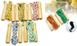Skipping Rope with Wooden Handle Jump Play Sport Exercise Workout Kids Child UK