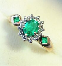 Vintage Style 9ct Gold Emerald & Diamond Trilogy Ring, Size M