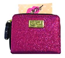 Betsey Johnson Pink Fuchsia Glitter Small Zip Around Wallet, NWT