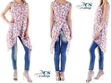 Maglia Chiffon Abito Blusa camicia lunga multicolore lino no maniche Donna 525