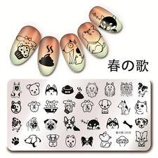 Nail Stamping Plates Nail Art Cute Dog Design Image Template Harunouta L016