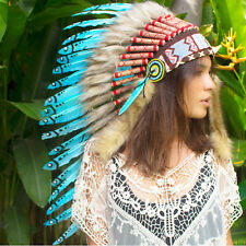 Long Feather Headdress- Native American Indian Style -ADJUSTABLE- Turquoise Duck