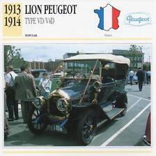 1913-1914 LION PEUGEOT Type VD/V4D Classic Car Photograph/Information Maxi Card