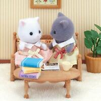 Girl of Sylvanian Families Persian Cat White + Gray set From Japan