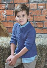 KNITTING PATTERN Childrens Long Sleeve Round Neck Cable Jumper Aran 3978