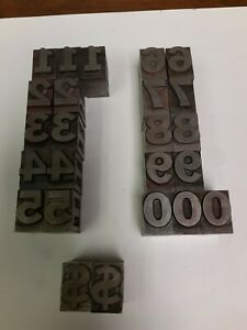 Lot of 24 Linotype Numbers and $ Signs.sizes in pics. Vintage Used