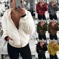 Women Winter Fleece Fur Fluffy Zip Coat Jackets Hooded Winter Warm Parka Outwear