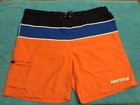 VINTAGE Nautica Swim Trunks XL Orange Blue Black Mens