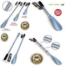 Stainless Steel Long Handled Metal Shoe Horn Telescopic Extendable Collapsible