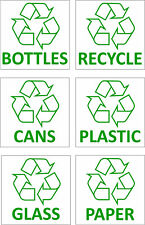 6 x RECYCLING METHODS SELF ADHESIVE STICKERS SAFETY SIGNS BUSINESS