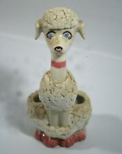 "Old Vintage 6"" Ceramic Very Cute White Poodle Dog Toothbrush Holder"