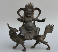"8"" Old Tibetan Buddhism Temple Bronze Ride Dragon White Jambhala Buddha Statue"