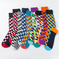Mens Combed Cotton Socks Colorful Argyle Casual Dress Happy Socks Wedding Gifts