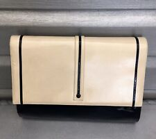 BALLY Vintage Mod Black Almond Patent Leather Clutch Handbag