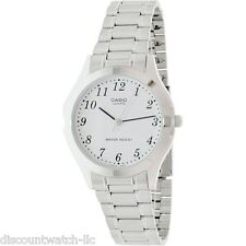 Casio MTP1128A-7B Mens Stainless Steel 30M Dress Watch White Dial NEW Numbers