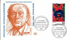 1974 Germany Commemorative Erich Heckel Man Asleep Official Cachet Unaddre Fdc