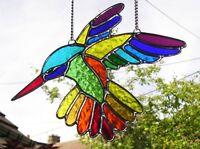 Stained Glass Rainbow Hummingbird, Suncatcher Handmade in England