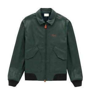 aime leon dore chain stitch leather bomber jacket