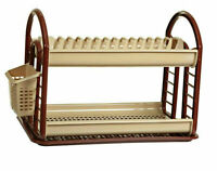 Brown Round Plastic 2 Layer Dish Drainer Rack Utensil Cutlery Draining Kitchen