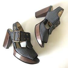 John Fluevog Size 6 Summertimes Fillmore Platform Sandals Anthracite Slingback