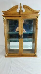 WOODEN WALL CURIO CABINET MIRRORED TWO DOOR TUSCAN DESIGN