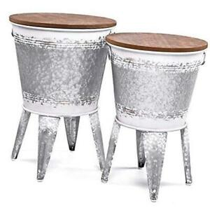 Farmhouse Accent Side Table - Galvanized Rustic End 2 White Distress(Lrg & Med)
